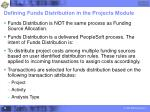 defining funds distribution in the projects module