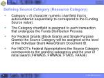 defining source category resource category