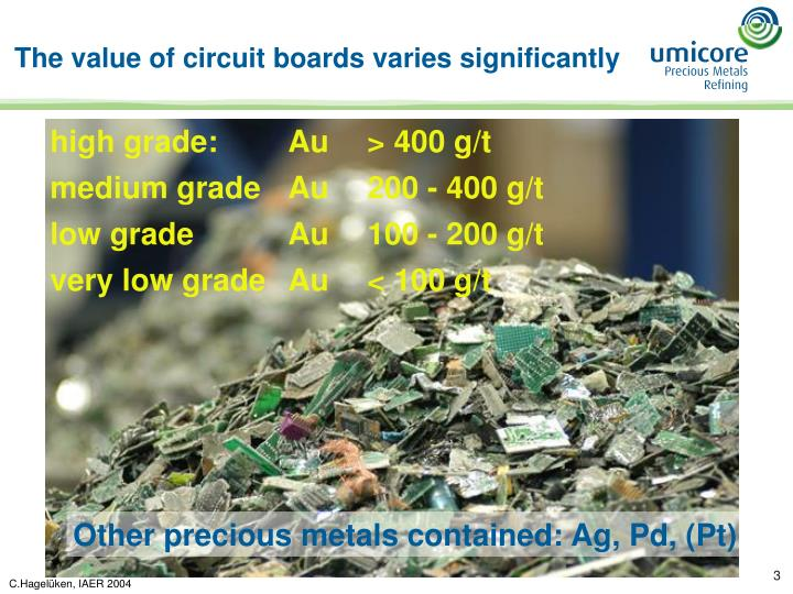 The value of circuit boards varies significantly