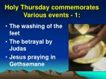 holy thursday commemorates various events 1