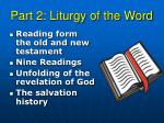 part 2 liturgy of the word