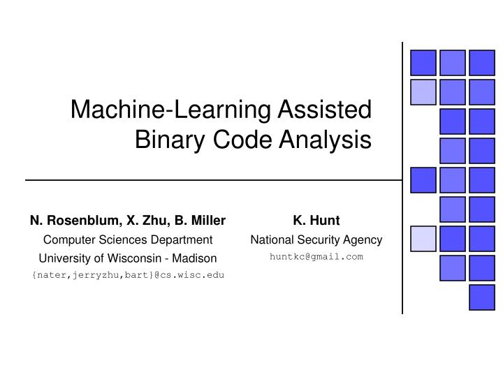 machine learning assisted binary code analysis n.