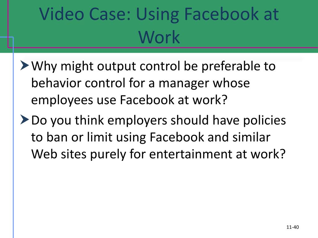 Video Case: Using Facebook at Work