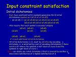 input constraint satisfaction