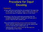 procedure for input encoding
