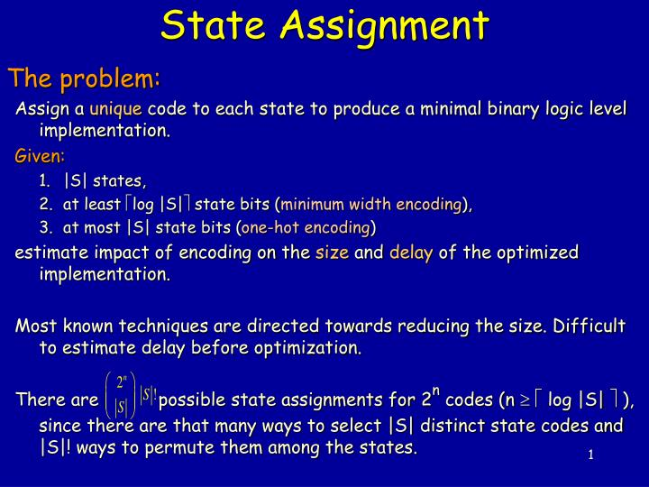 state assignment n.
