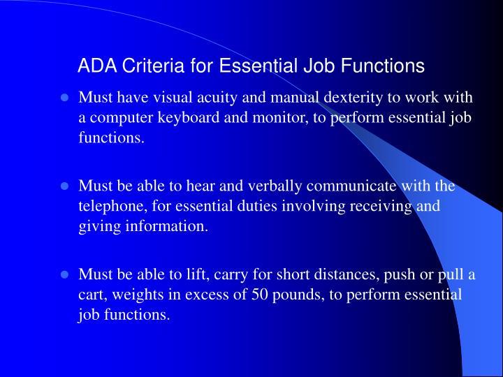 ADA Criteria for Essential Job Functions
