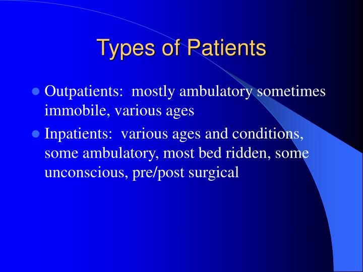 Types of Patients