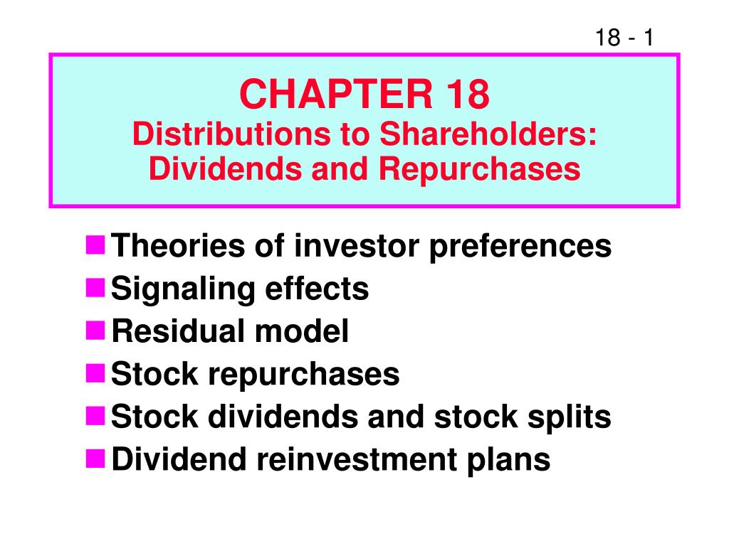 dividend policy and stock repurchases Part v survey evidence on dividends and dividend policy 21 cash dividends and stock repurchases introduction survey research on dividend policy.