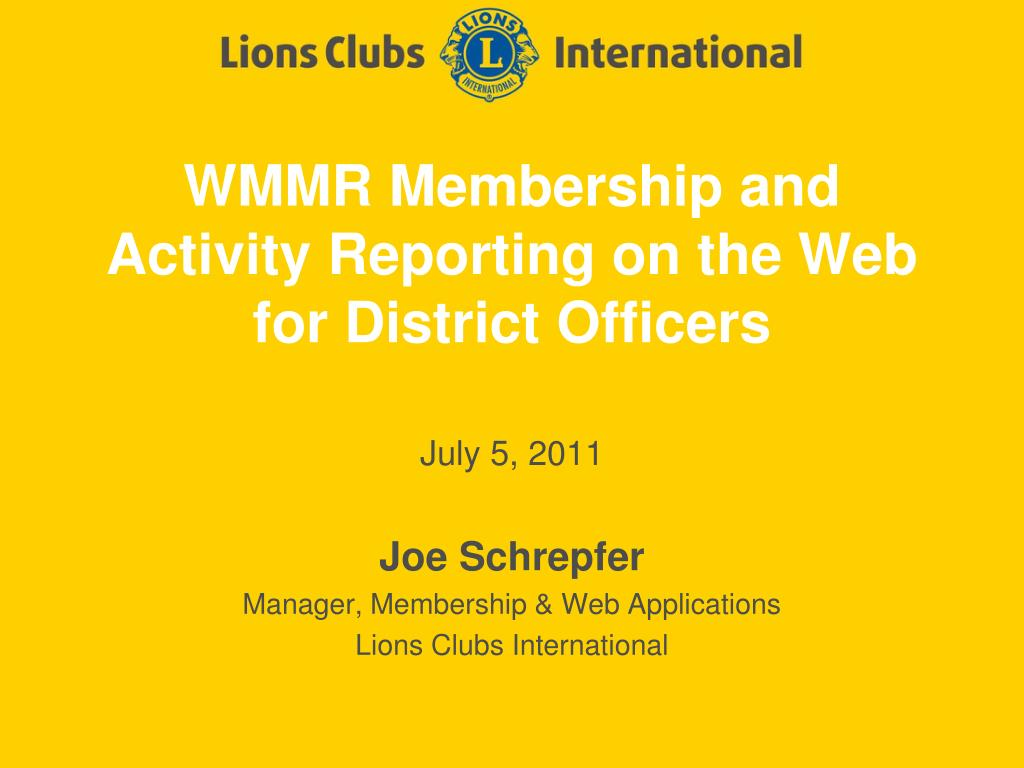 PPT - WMMR Membership and Activity Reporting on the Web for