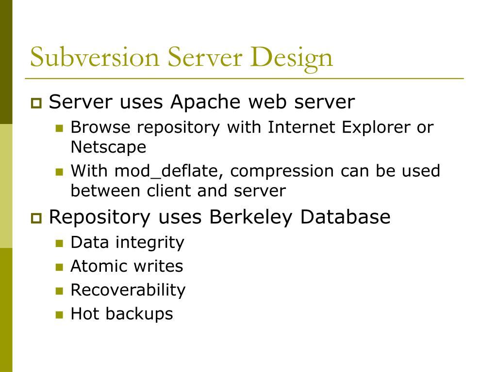 Subversion Server Design