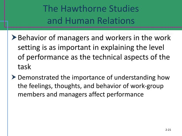 what contributions the hawthorne studies made to modern management The hawthorne studies provided different findings: initially, studies did not provide any evidence of correlation between work performance of individuals the human relation movement was aimed at providing social skills to managers that they needed to make management-employee relation better.
