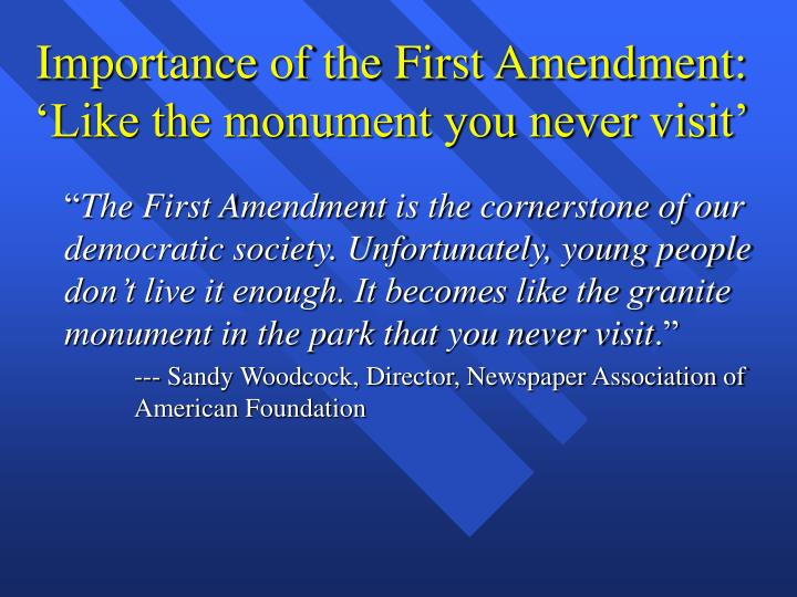 the significance of the first amendment in america First amendment: an overviewthe first amendment of the united states constitution protects the right to freedom of religion and freedom of.