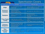 specification covers