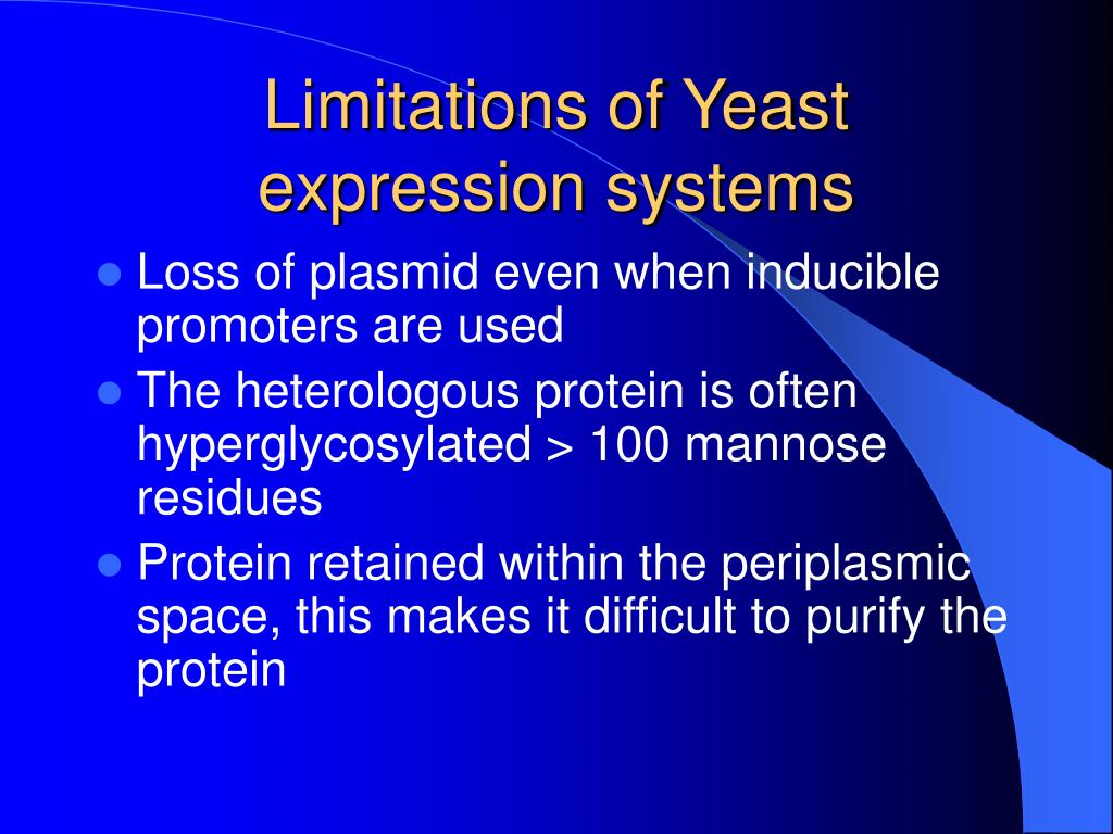 Limitations of Yeast expression systems