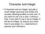 character and integer