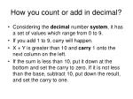how you count or add in decimal