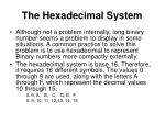 the hexadecimal system