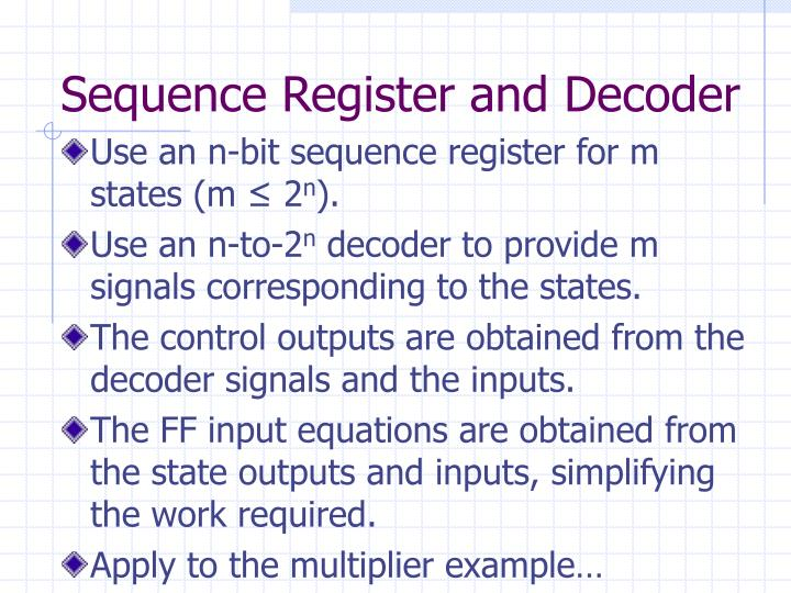 Sequence Register and Decoder