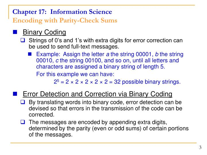 Chapter 17 information science encoding with parity check sums