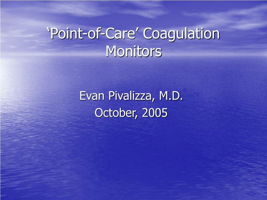 point of care coagulation monitors l.