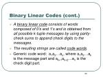 binary linear codes cont