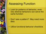 assessing function