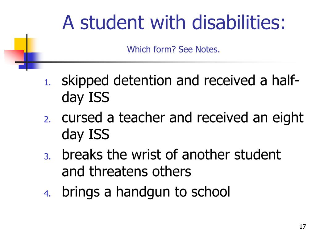 A student with disabilities: