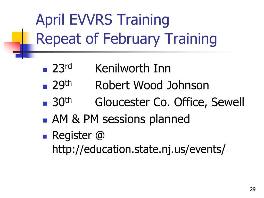 April EVVRS Training