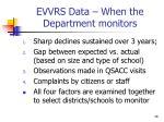 evvrs data when the department monitors