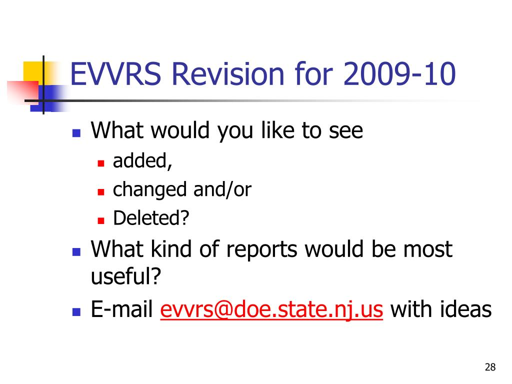 EVVRS Revision for 2009-10