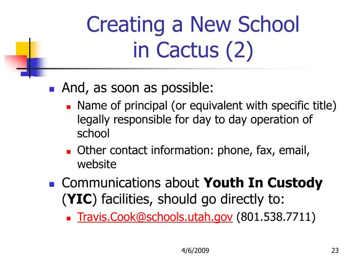Creating a New School