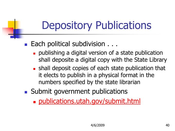 Depository Publications