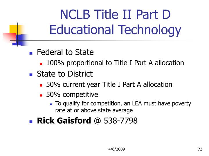 NCLB Title II Part D