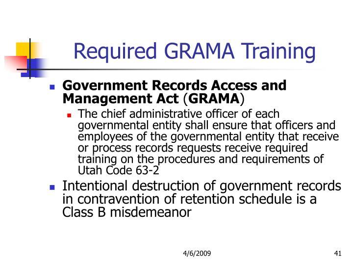 Required GRAMA Training