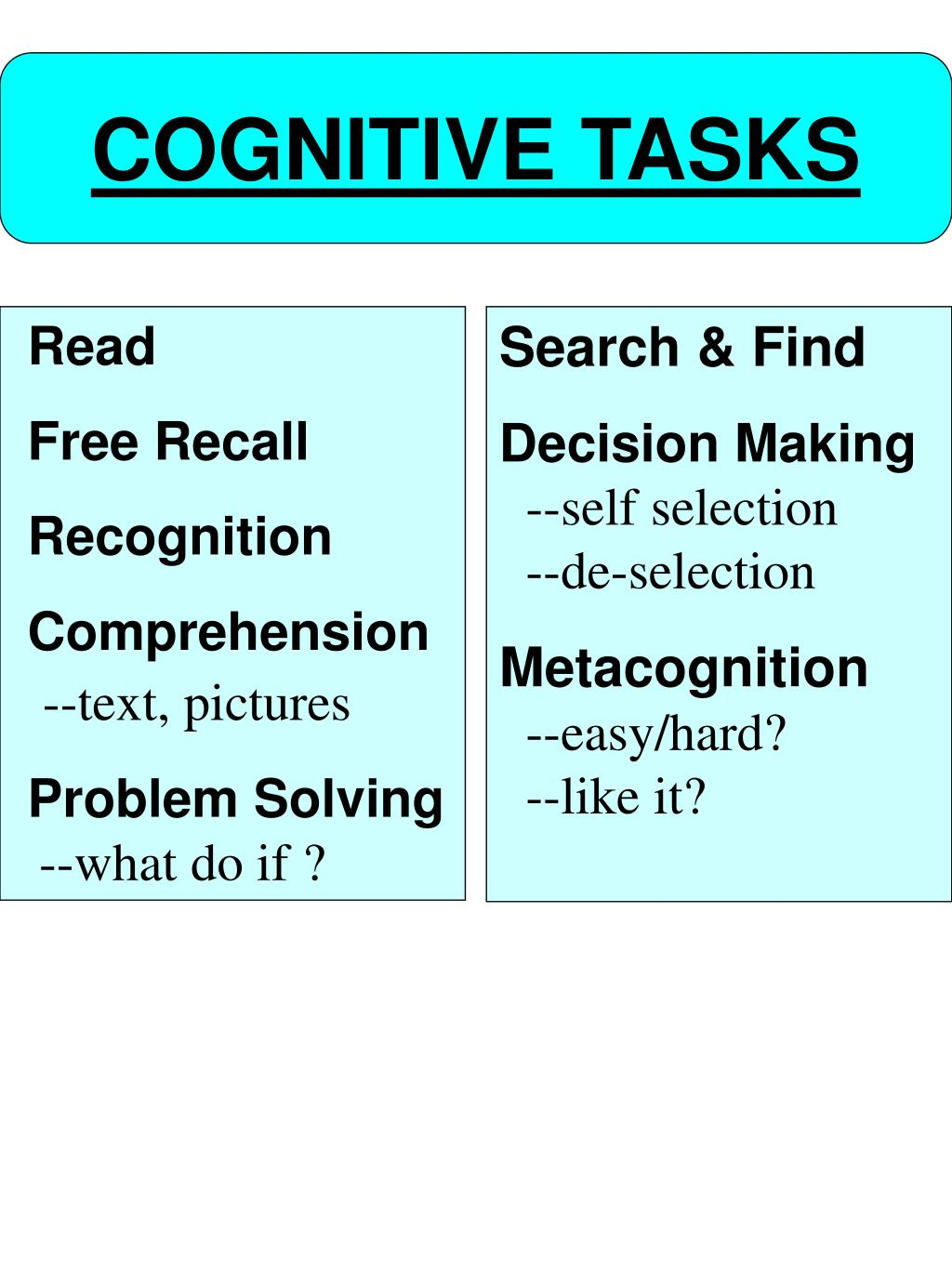 COGNITIVE TASKS