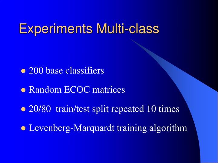 Experiments Multi-class
