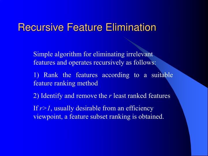 Recursive Feature Elimination