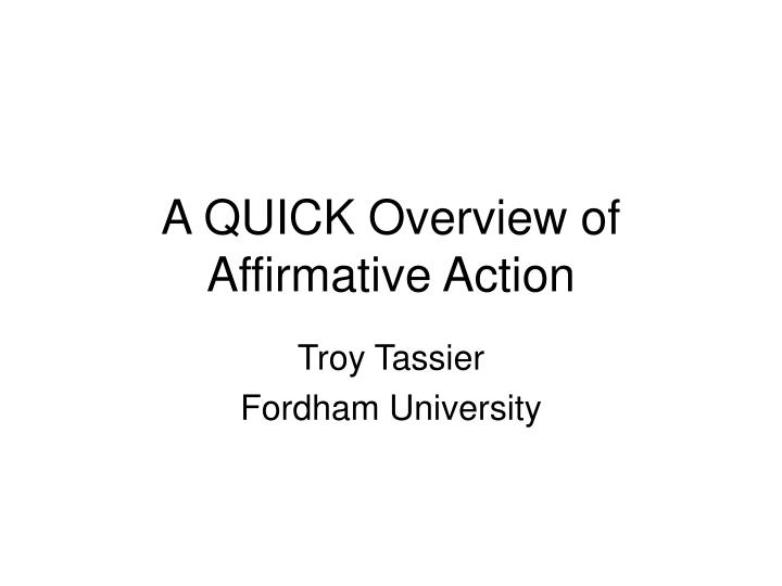 a quick overview of affirmative action n.