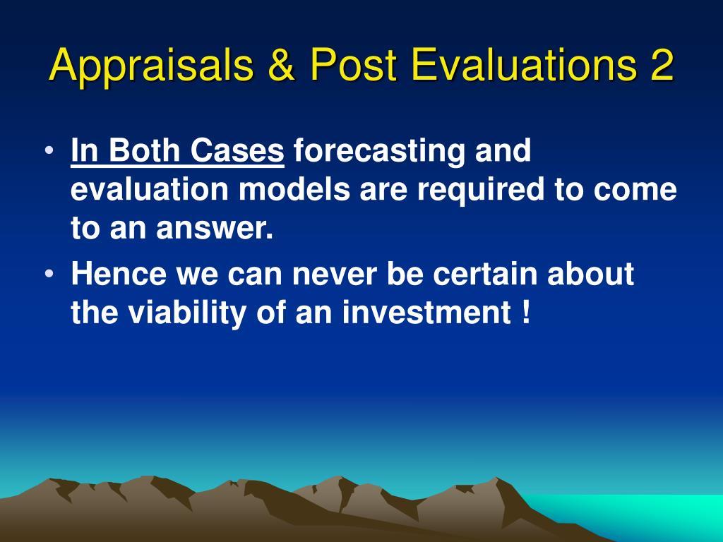 Appraisals & Post Evaluations 2