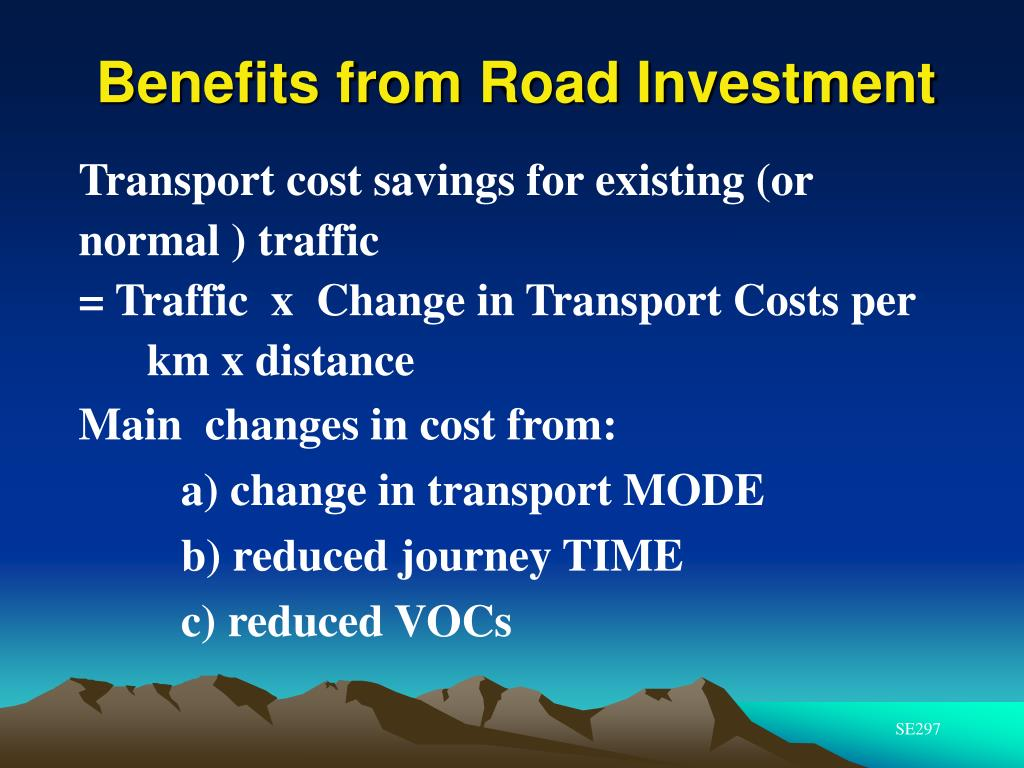 Transport cost savings for existing (or normal ) traffic