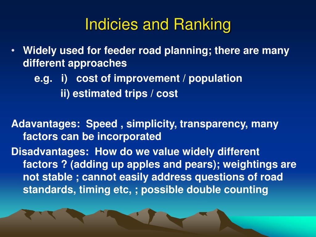 Indicies and Ranking