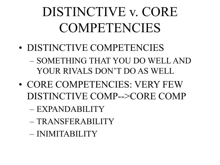 core competencies and distinctive competencies for sony company Starbucks' core competencies include that it is well known for its expertise in coffee roasting and hand-built beverages starbuck also emphasizes diversity the company builds a diverse workforce to increase cultural competencies as well as to demonstrate inclusion within the company.