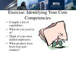 exercise identifying your core competencies