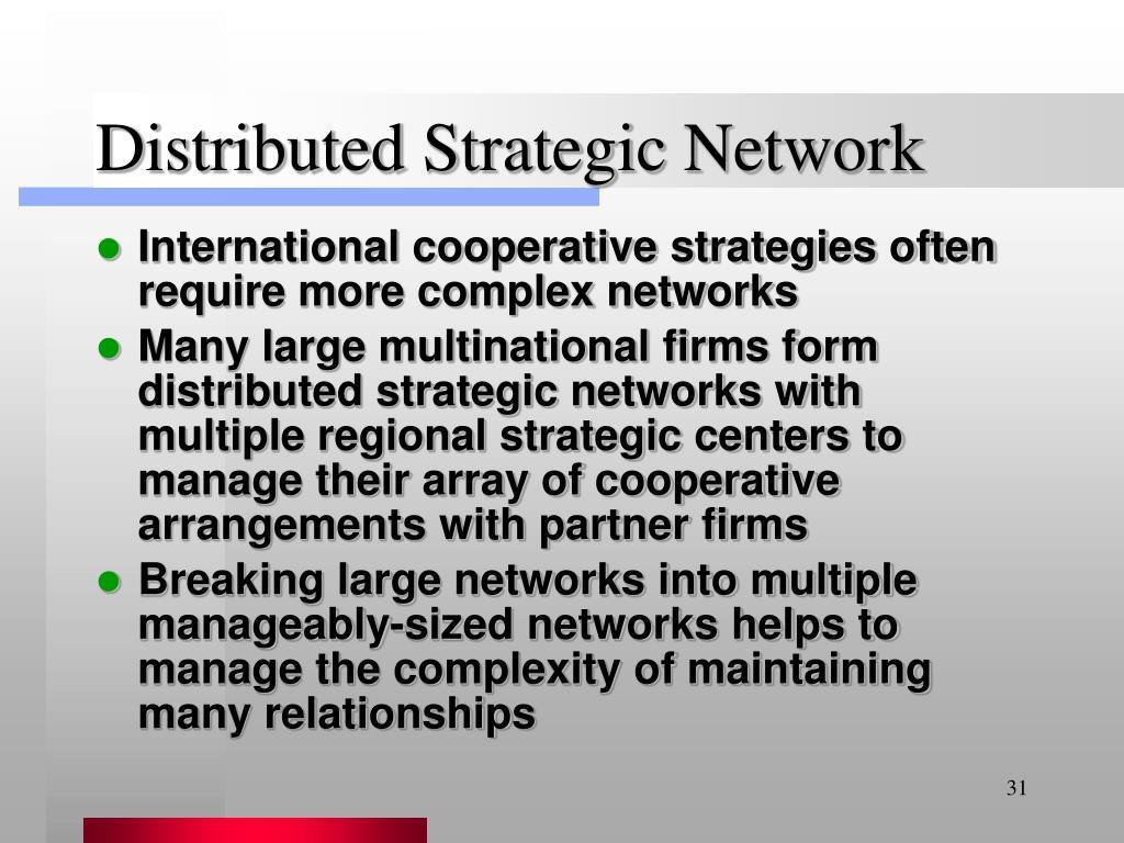 Distributed Strategic Network