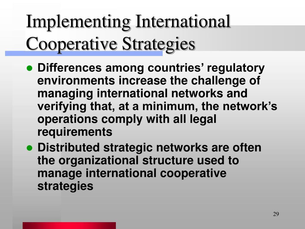 Implementing International Cooperative Strategies