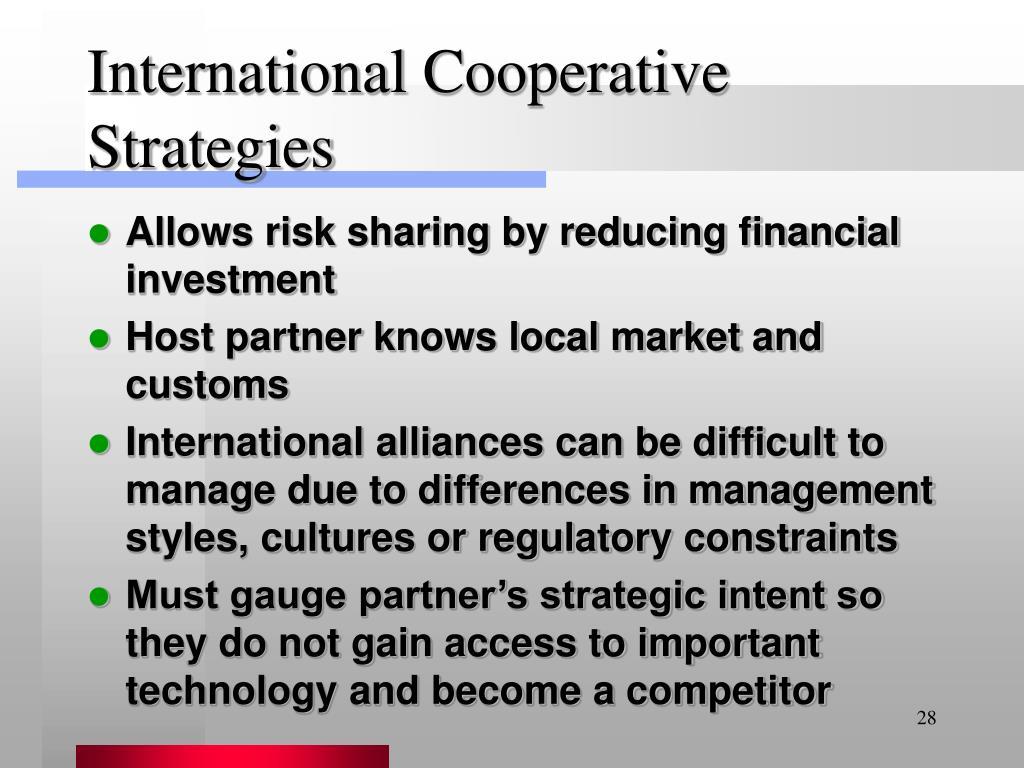 International Cooperative Strategies