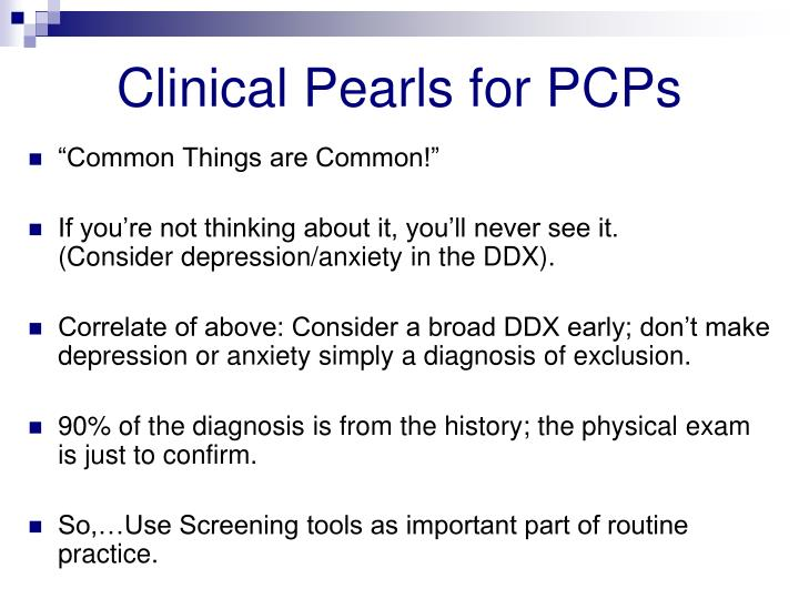 Clinical Pearls for PCPs
