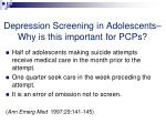 depression screening in adolescents why is this important for pcps