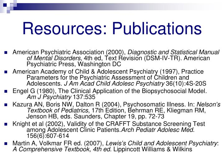 Resources: Publications